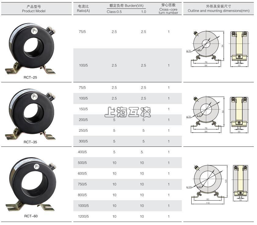 RCT-25电流互感器,RCT-35电流互感器,RCT-58电流互感器外形尺寸图